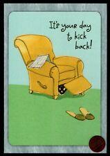 "BIRTHDAY Recliner Chair Newspaper Slipper "" Kick Back "" Birthday Greeting Card"