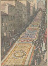 K0079 Genzano - Corpus Domini - Infiorata - Stampa d'epoca - 1930 old print