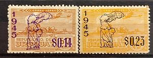 URUGUAY - PLANE OVER SCULPTURED OVERMARKED - LOT OF 2 MH STAMPS