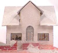 Vintage Christmas House Train Yard Putz Display White Pink Cardboard #114 As Is