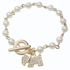 Perlas de Imitación Cristal Perro Colgante Cadena encantos pulsera de enlace, blanco y oro G4V3