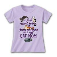 2d155cb38c733 Cat Mom T shirt Ladies Cotton Lavender Stay Home Short Sleeve S M L XL 2XL  NWT