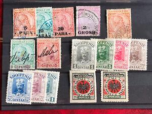 Albanien Anfänge Lot an ungebrauchten , gestempelten Briefmarken .