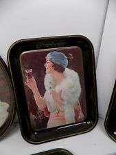 Vintage Coca-Cola Advertising Tray Woman in White Fox Stole Advertising