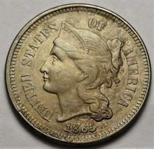 1865/1865 FS-304 Three Cent Nickel Choice Almost Uncirculated AU 3c Variety Coin