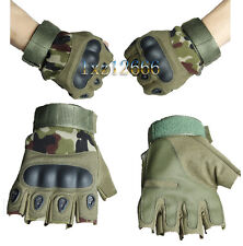 Woodland Military Tactical Airsoft Hunting Cycling Bike Fingerless Gloves