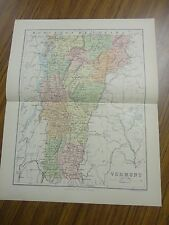 Nice color map of the State of Vermont. Printed 1892 by Chambers.
