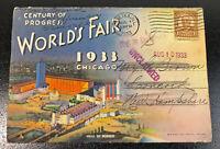 1933 Chicago World's Fair Century of Progress Postcard Book Ilustrations Folder