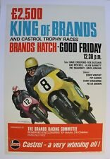 AFFICHE ANCIENNE POSTER GP MOTO MICHAEL TURNER KING of BRANDS HATCH CASTROL 1966
