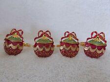 Elegant Set Of 4 Enamel Christmas Ornament With Bow Napkin Ring