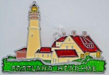 """Portland Head Lighthouse"" ~ Suncatcher with Glass/Acrylic/Metal ~ 5.5"" ~ New"