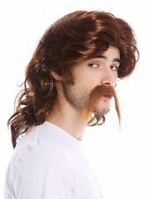 Wig Beard Men's Long Gallier Germane Bard Chav Mullet Red Brown
