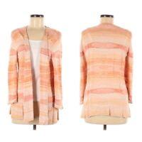 J. Jill Womens Cardigan Medium Open Southwestern Orange Striped 3/4 Sleeve Linen