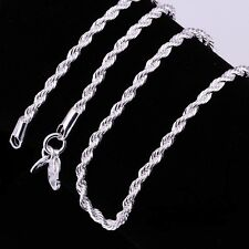 """925 Sterling Silver Plated 2 mm Twisted Rope Chain Necklace 16"""""""