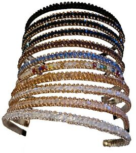 Ladies Womens Thin Three Row Crystal Rhinestone Diamante Jewel Bead Headband