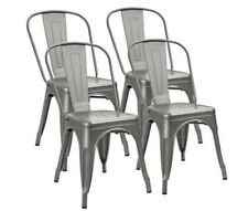 Metal Dining Chair Set of 4 Stackable Seat  Side Chairs Indoor-Outdoor Furniture