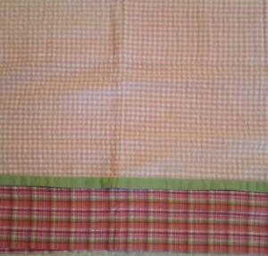 LAMBS & IVY window valance Rainbow  girl nursery pink and green plaid/checks nip
