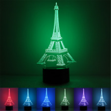 3D LED Desk Table Lamp Romantic Eiffel Tower Bedroom Night Color Changing Light