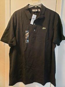 New LACOSTE Men's Short Sleeve Polo Shirt Size (7) XXL Black NWT