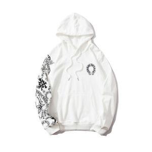 New Italy Pop Style Men's Hoodies Cross Horseshoe Print White Sweater CH1856W
