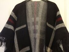 Shawl poncho woollen black/white check red accents & tussles - NEW