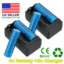 4PC 18650 3.7V Lithium Rechargeable Li-ion Battery + 2PC Smart Charger UltraFire