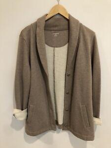 Womens Lands End Medium Cardigan Boyfriend Sweater Jacket Heather Brown Button