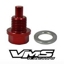 VMS RACING MAGNETIC OIL PAN DRAIN PLUG BOLT W/ CRUSH WASHER RED FOR TOYOTA SCION