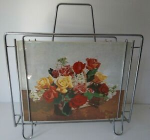 Vintage 1950s Metal/Wire MAGAZINE RACK Changeable Pictures/Photos Floral