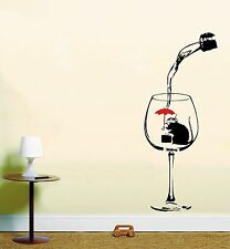 Banksy Rat Mouse Wine Glass Wall Art Vinyl Stickers Kitchen Dining Mural Black