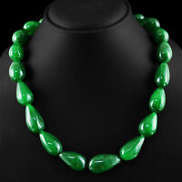 692.90 CTS EARTH MINED PEAR SHAPED RICH GREEN EMERALD BEADS NECKLACE STRAND