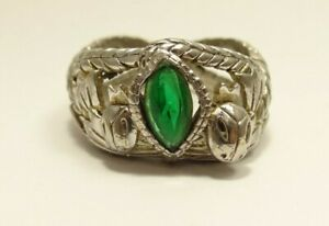 Unique Silver Tone Ring with Green Gemstone Size 11