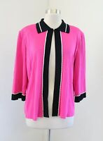 Ming Wang Hot Pink Black Chain Trim Acrylic Knit Collared Cardigan Jacket Size L