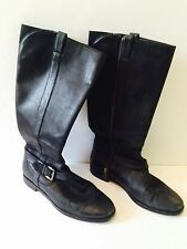 Cole Haan Shoes Size 7 Women Black Boots Solid Belted Side Zip Casual High