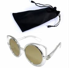 Circular Sunglasses Clear Frame Gold Lens Shades with Pouch