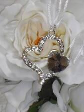 WEDDING DIAMANTE TWO INTERLOCKING LOVE HEARTS GOOD LUCK CHARM-BRIDAL KEEPSAKE B
