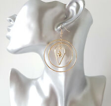 Gorgeous 6cm long gold tone graduated metal multi hoop & heart drop earrings *