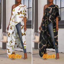 Women Long Maxi Tops One Shoulder Asymmetric Shirt Dress Party Cocktail Blouse