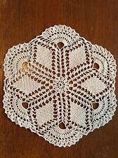 Vintage Hand Crocheted Cotton Doily 26cm Centrepiece Crochet Dining Dressing