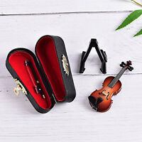 Music Instrument Miniature Wooden Violin Music Box with Case Stand Decoration CO