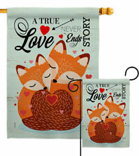 Foxes Love Garden Flag Valentines Spring Decorative Small Gift Yard House Banner
