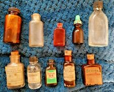 Vintage MEDICINE Pharmacy BOTTLES Lot of 10 Some W/ Contents LOT 1