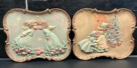 Vtg Pair Ceramic Christmas Hand Painted Gold Trim Plaque Wall Hanging Art Retro