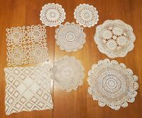 Lot of Vintage Hand Made Crocheted Doilies 8 Pieces Cream Off White