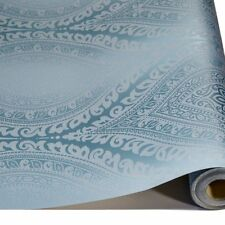 Grandeco Kismet Damask Teal Metallic Glitter Textured Vinyl Wallpaper A17702