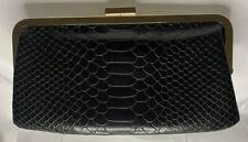 HOBO International Black Leather Snakeskin Clutch Wallet Purse Gold Hardware