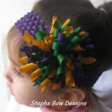 Mardi Gras Fat Korker Hair Bow Headband fits Newborn to Adult
