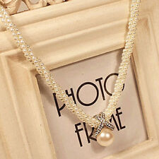BU_ Women Fashion Pendant Chain Choker Faux Pearls Statement Necklace Jewelry Li