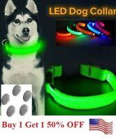LED Adjustable Dog Collar Blinking Night Flashing Light Up Glow Pets 5+ batterie