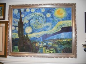 Oil on Canvas Original Rendition of Vincent Van Gogh's Starry Night Frame 54x44